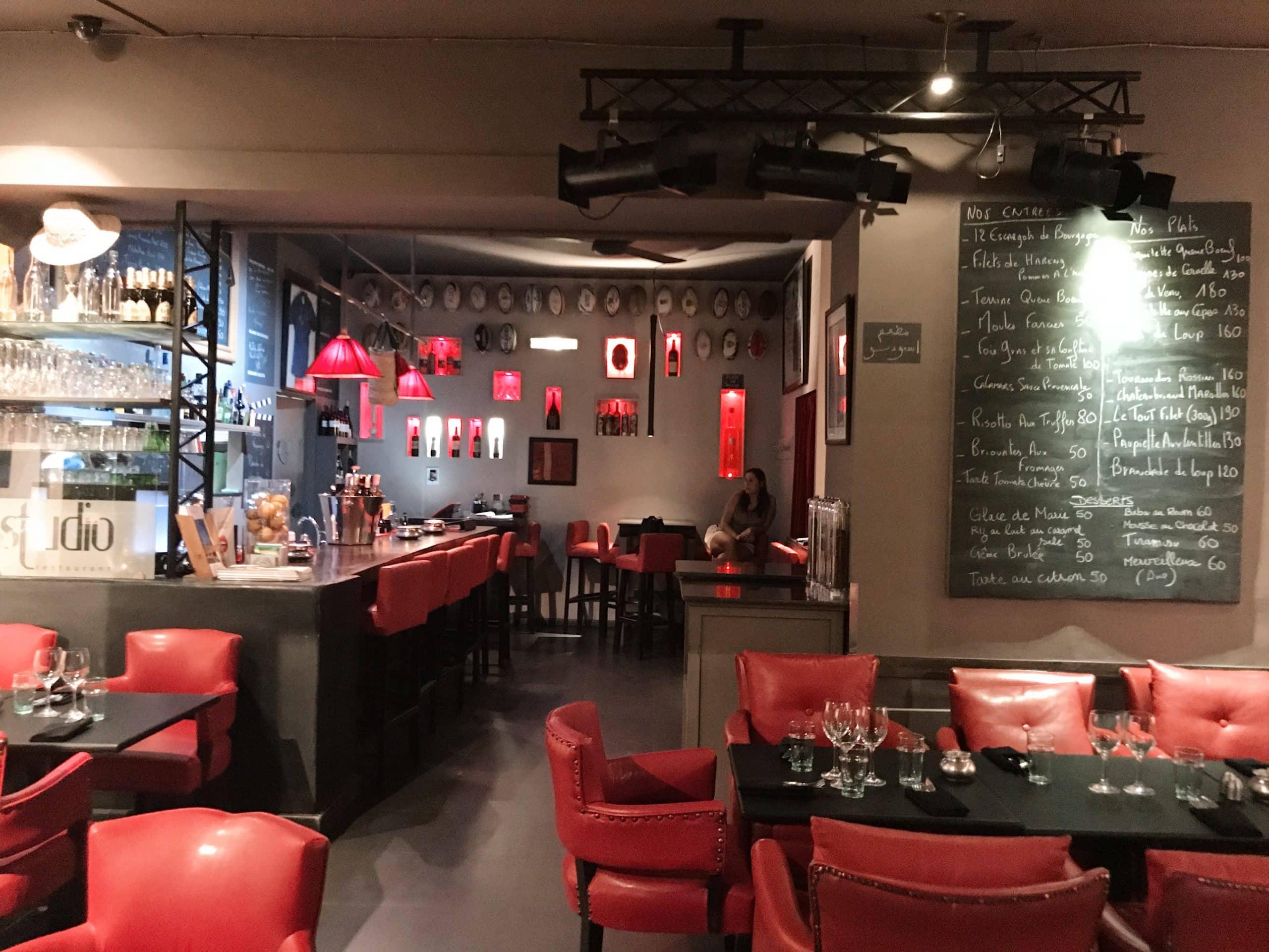 La salle du restaurant Le Studio à Marrakech